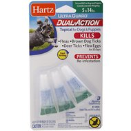 Hartz UltraGuard Dual Action Flea & Tick Topical Treatment for Dogs 5-14 lbs, 3 treatments