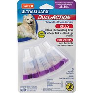 Hartz UltraGuard Dual Action Flea & Tick Topical Treatment for Dogs 31-60 lbs, 3 treatments