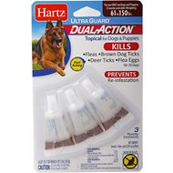 Hartz UltraGuard Dual Action Flea & Tick Topical Treatment for Dogs 60+ lbs, 3 treatments