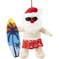 Petlou Holiday Plush Blue Surfboard Santa Dog Toy