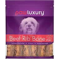 Pawluxury Beef Rib Bones Dog Chews, 8 count