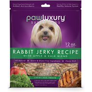 Pawluxury Rabbit Jerky Recipe with Apple & Kale Blend Dog Treats, 12-oz bag