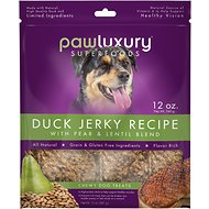 Pawluxury Duck Jerky Recipe with Pear & Lentil Blend Dog Treats, 12-oz bag
