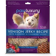 Pawluxury Venison Jerky with Blueberry & Cranberry Blend Dog Treats, 12-oz bag