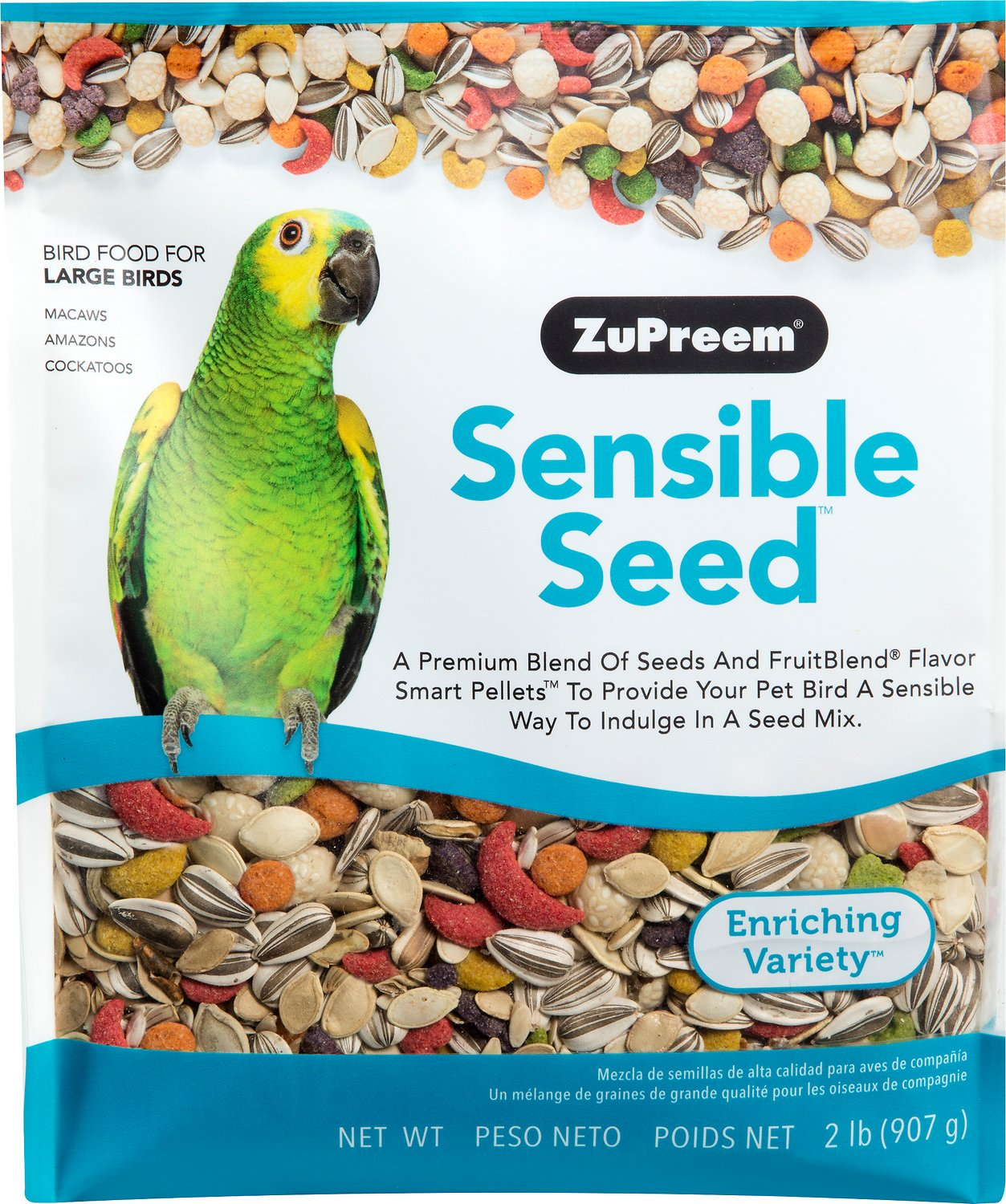 907g Sensible Seed Bird Food for Parrots /& Conures by ZuPreem 2 lbs