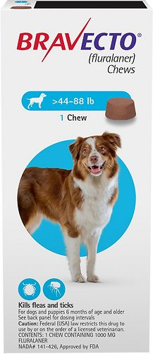 Bravecto Chews for Dogs, 44-88 Lbs, 1 Treatment (Blue Box)