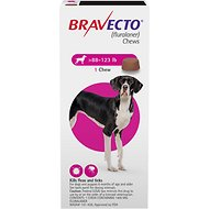 Bravecto Chews for Dogs, 88-123 lbs, 1 treatment