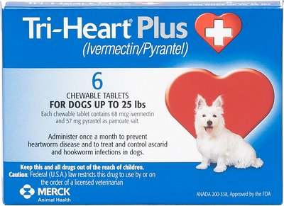 Tri-Heart Plus Chewable Tablet for Dogs, up to 25 lbs, (Blue Box)