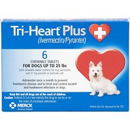 Tri-Heart Plus Chewable Tablets for Dogs, up to 25 lbs, 6 treatments