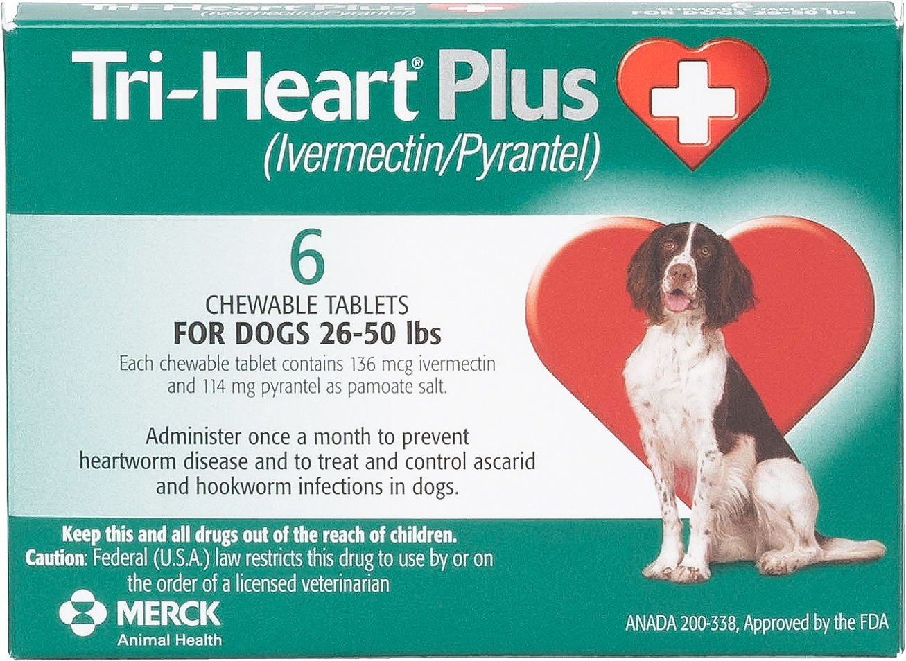 Tri Heart Plus Chewable Tablets For Dogs 26 50 Lbs 6 Treatments