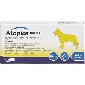 Atopica (Cyclosporine) Capsules for Dogs, 15 capsules, 100-mg (33.1-64 lbs)