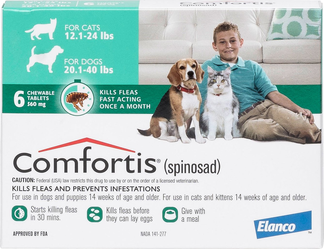Comfortis Chewable Tablets For Dogs 20 1 40 Lbs Amp Cats 12