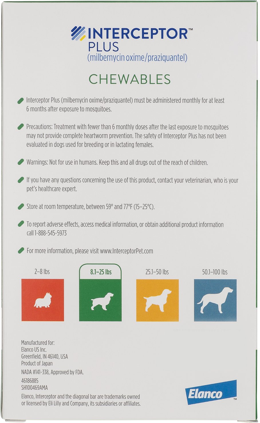 Interceptor Plus Chewable Tablets For Dogs 8 1 25 Lbs 6