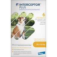 Interceptor Plus Chewable Tablets for Dogs, 25.1-50 lbs, 6 treatments (Yellow Box)