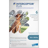 Interceptor Plus Chewable Tablets for Dogs, 50.1-100 lbs, 6 treatments (Blue Box)