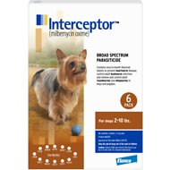 Interceptor Tablets for Dogs, 2-10 lbs, 6 treatments