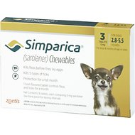 Simparica Chewable Tablets for Dogs, 2.8-5.5 lbs, 3 treatments