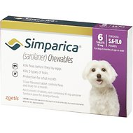 Simparica Chewable Tablets for Dogs, 5.6-11 lbs, 6 treatments