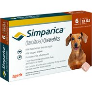 Simparica Chewable Tablets for Dogs, 11.1-22 lbs, 6 treatments