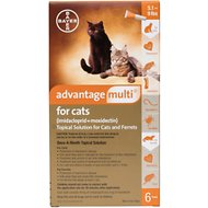 Advantage Multi Topical Solution for Cats, 5.1-9 lbs & Ferrets, 6 treatments