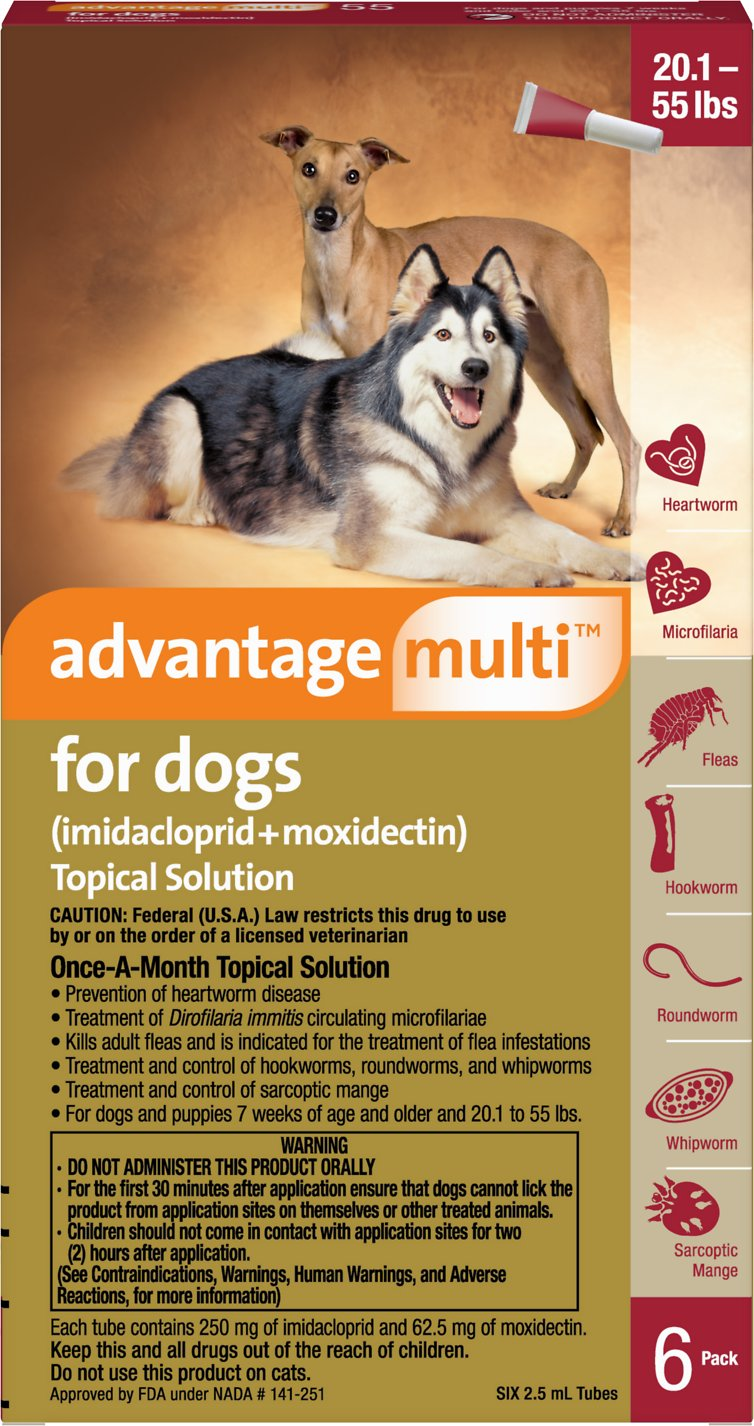 Advantage Multi Topical Solution for Dogs, 20 1-55 lbs, 6 treatments