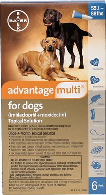 Advantage Multi Topical Solution for Dogs, 55.1-88 lbs, (Blue Box), 6 Doses (6-mos. supply)