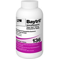 Baytril (Enrofloxacin) Chewable Tablets for Dogs & Cats, 136-mg, 1 tablet