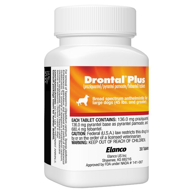 Drontal Plus Tablets For Dogs Over 45 Lbs 1 Tablet Chewy