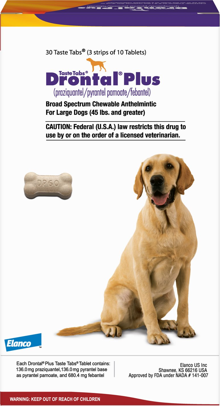 Drontal Plus Chewable Tablets for Dogs, over 45 lbs, 1