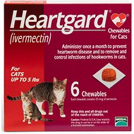 Heartgard Chewable Tablets for Cats, up to 5 lbs, 6 treatments