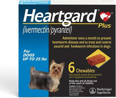 Heartgard Plus Soft Chew for Dogs, up to 25 lbs, (Blue Box)