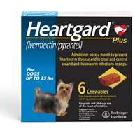 Heartgard Plus Chewable Tablets for Dogs, up to 25 lbs, 6 treatments (Blue Box)