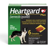 Heartgard Plus Chewable Tablets for Dogs, 26-50 lbs, 6 treatments