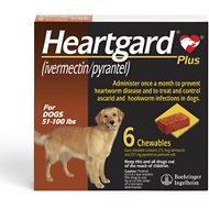 Heartgard Plus Chewable Tablets for Dogs, 51-100 lbs, 6 treatments (Brown Box)