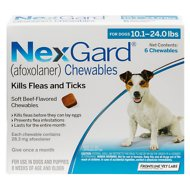 NexGard Chewables for Dogs, 10.1-24 lbs, 6 treatments (Blue Box)