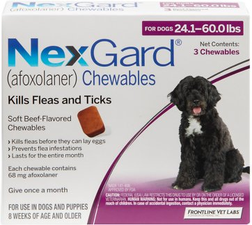 Nexgard Chewables for Dogs, 24.1-60 Lbs (Purple Box)