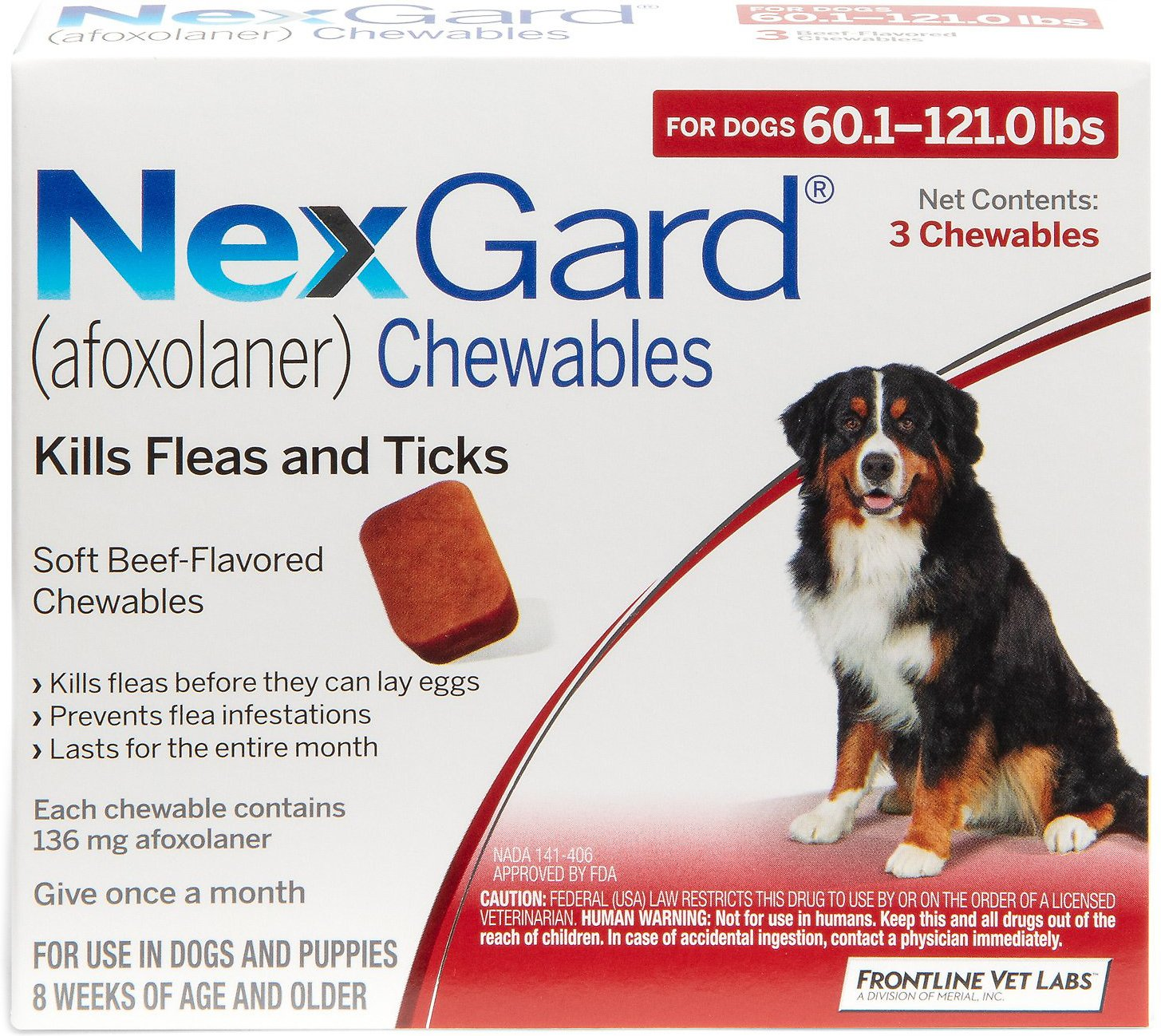 Nexgard Chewable Tablets For Dogs 60 1 121 Lbs 3