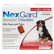 NexGard Chewable Tablets for Dogs, 60.1-121 lbs, 3 treatments