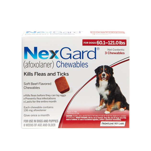 NexGard Chewables for Dogs, 60.1-121 lbs, 3 treatments (Red Box) - Chewy.com