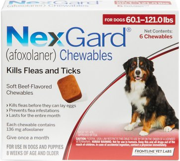 Nexgard Chewable Tablets For Dogs 601 121 Lbs 6 Treatments