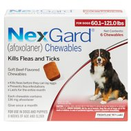 NexGard Chewable Tablets for Dogs, 60.1-121 lbs, 6 treatments (Red Box)