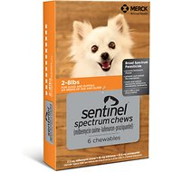Sentinel Spectrum Chewable Tablets for Dogs, 2-8 lbs, 6 treatments