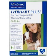Iverhart Plus Chewable Tablets for Dogs, 26-50 lbs, 6 treatments