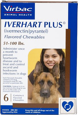 Iverhart Plus Chewable Tablet for Dogs, 51-100 lbs, (Brown Box), 6 Chewable Tablets (6-mos. supply)