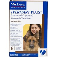 Iverhart Plus Chewable Tablets for Dogs, 51-100 lbs, 6 treatments