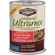 Castor & Pollux Natural Ultramix Grain-Free All Beef Sausage Links & Sweet Potato Entrée in Gravy Canned Dog Food, 12.7-oz, case of 12