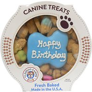 Claudia's Canine Bakery Happy Birthday Peanut Butter Cookie Dog Treats, 11-oz tub, Blue