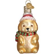 Old World Christmas Winter Puppy Glass Tree Ornament, 3-in