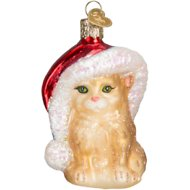 Old World Christmas Santa Kitty Glass Tree Ornament, 3.5-in