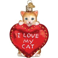 "Old World Christmas ""I Love My Cat"" Glass Tree Ornament, 3.5-in"